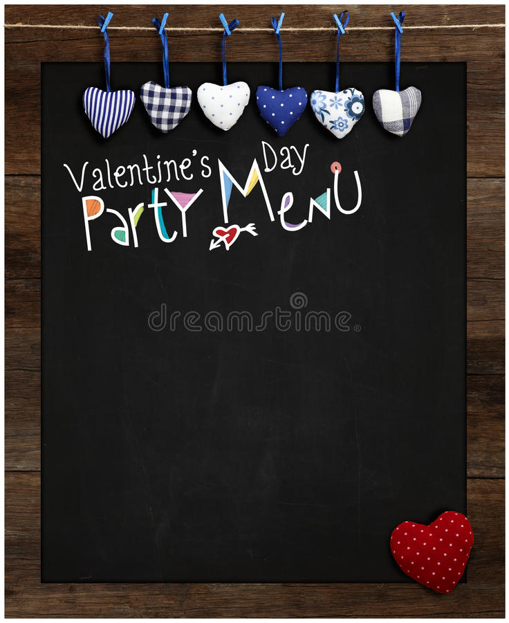 Valentine's Day Party Menu Chalkboard Blue and Red Gingham Love. Hearts hanging on wooden frame with blackboard, Red dotted heart in corner, copy space for love royalty free stock photography