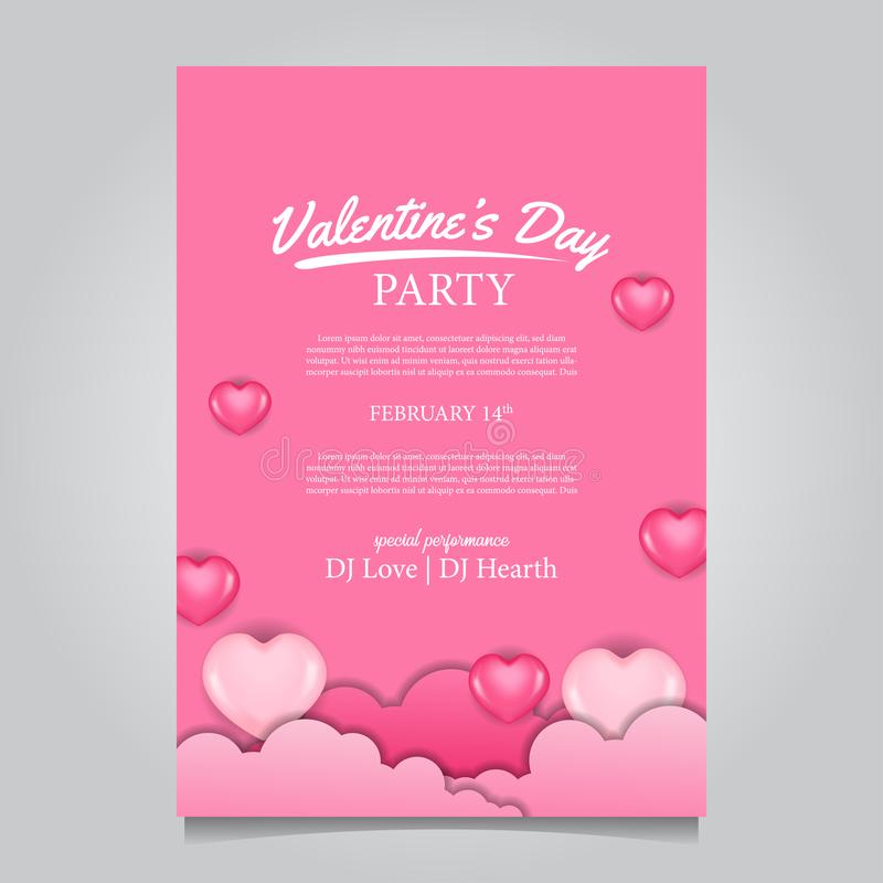 Valentine`s day party poster banner template with soft pink background with 3D heart shape pink 皇族释放例证