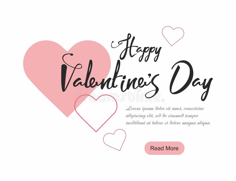 Valentine`s Day party web banner, background with pink hearts. Vector Illustration royalty free illustration