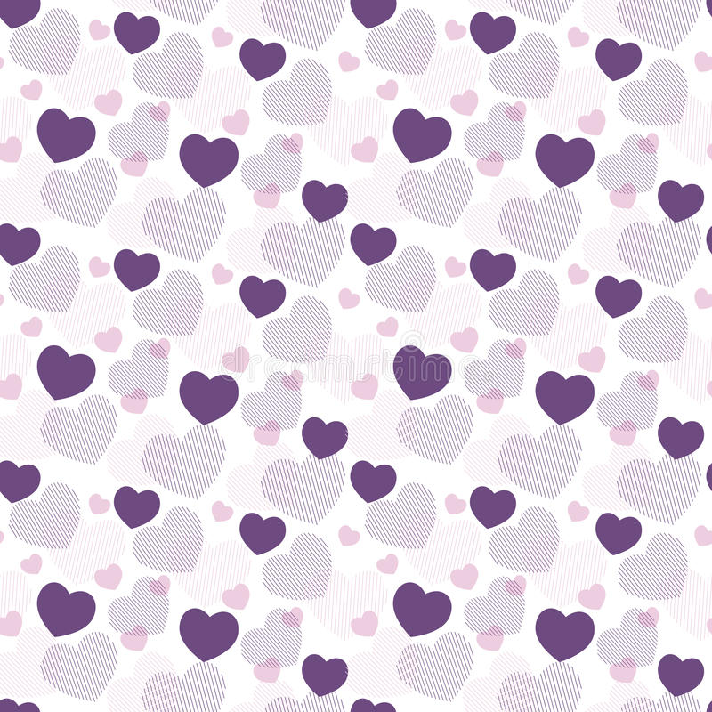 Valentine`s day pattern with heart. Vector seamless pattern in geometric style with love hearts royalty free illustration