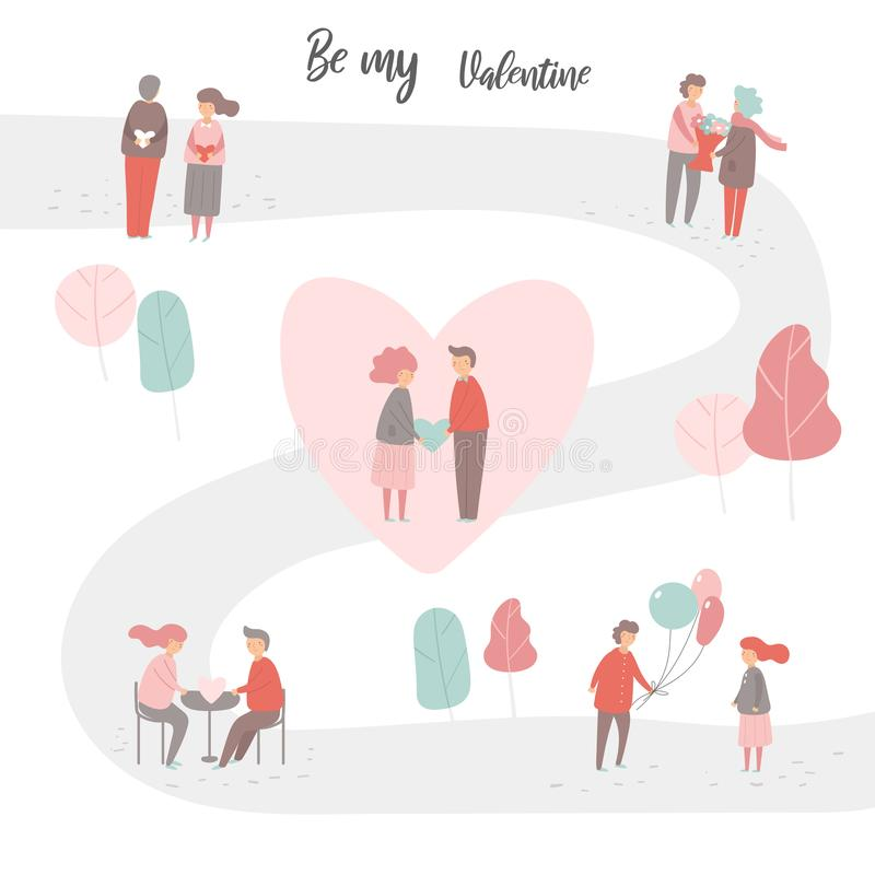 Valentine`s day people collection including men and women stock illustration