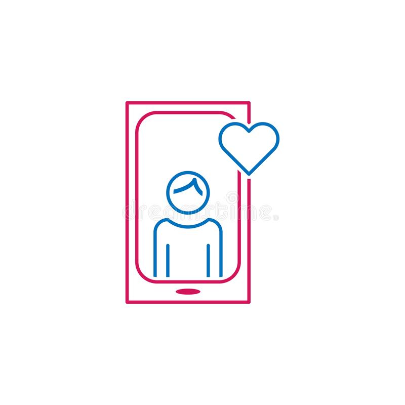 Valentine`s day, phone, man, love, heart icon. Can be used for web, logo, mobile app, UI, UX stock illustration