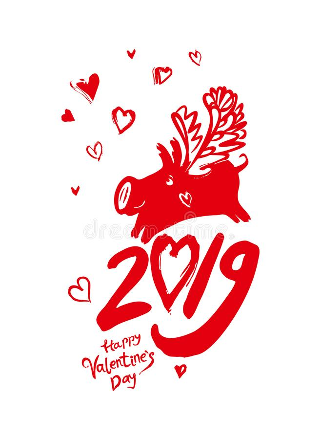 Valentine`s Day in 2019 pig. Happy Valentine`s Day. Handwritten inscription and winged pig and airy hearts fly. royalty free illustration
