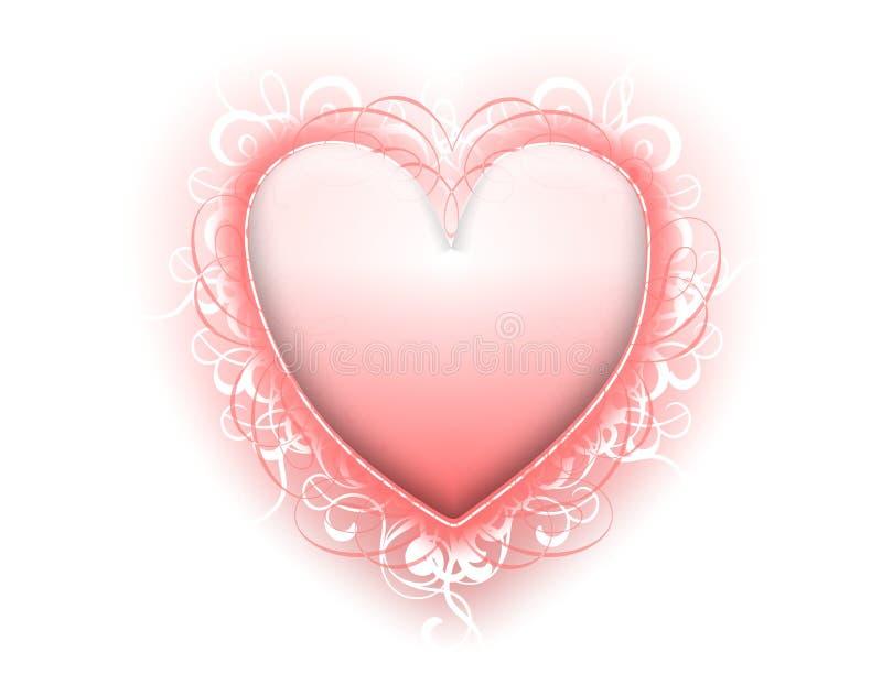 Valentine's Day Pink Heart Flourishes stock illustration