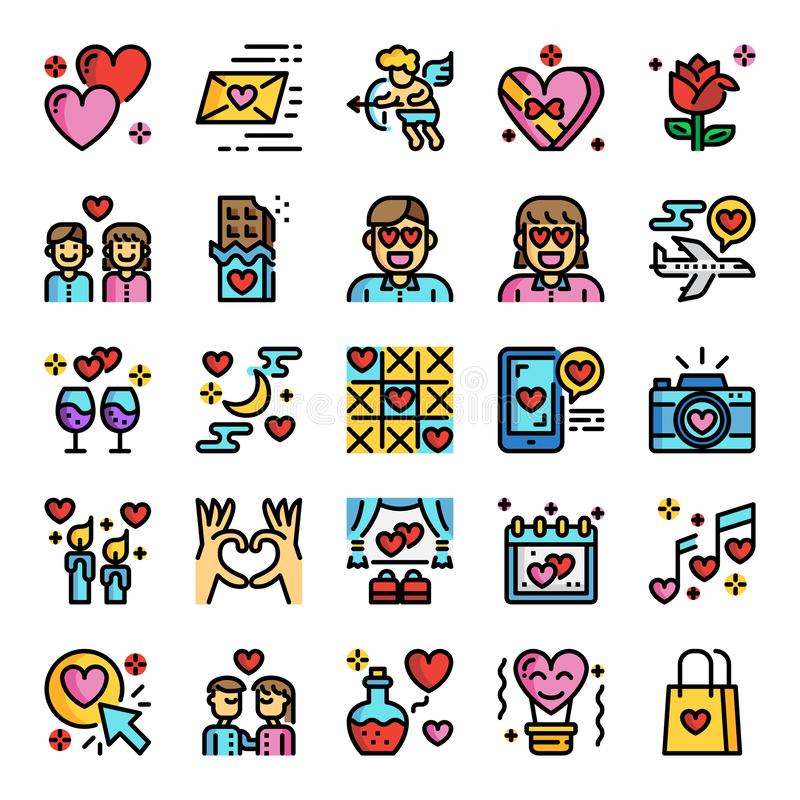 Valentine`s day pixel perfect color line icons royalty free illustration