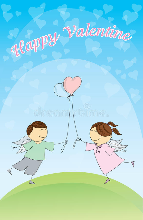 Valentine's day post card. With little angels vector illustration