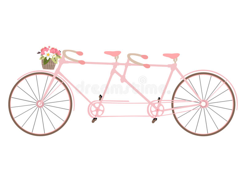 Valentine`s Day postcard with vintage tandem bicycle vector isol royalty free illustration