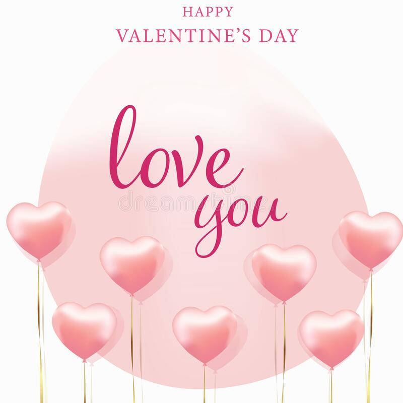 Free Valentine`s Day Postcard With Heart Shaped Balloons Stock Image - 209538441