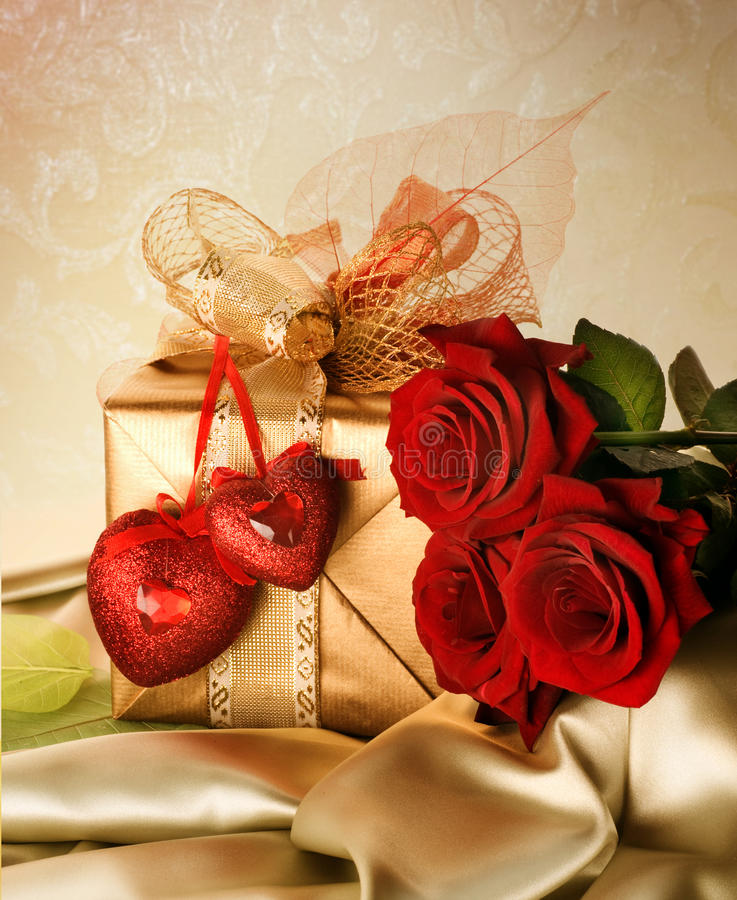 Valentines Day Present. Beautiful Valentines Day Gift.With copy-space