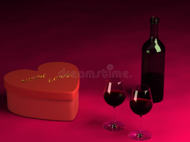 Valentine S Day Present, Two Glasses Of Wine And A Bottle. Royalty Free Stock Images