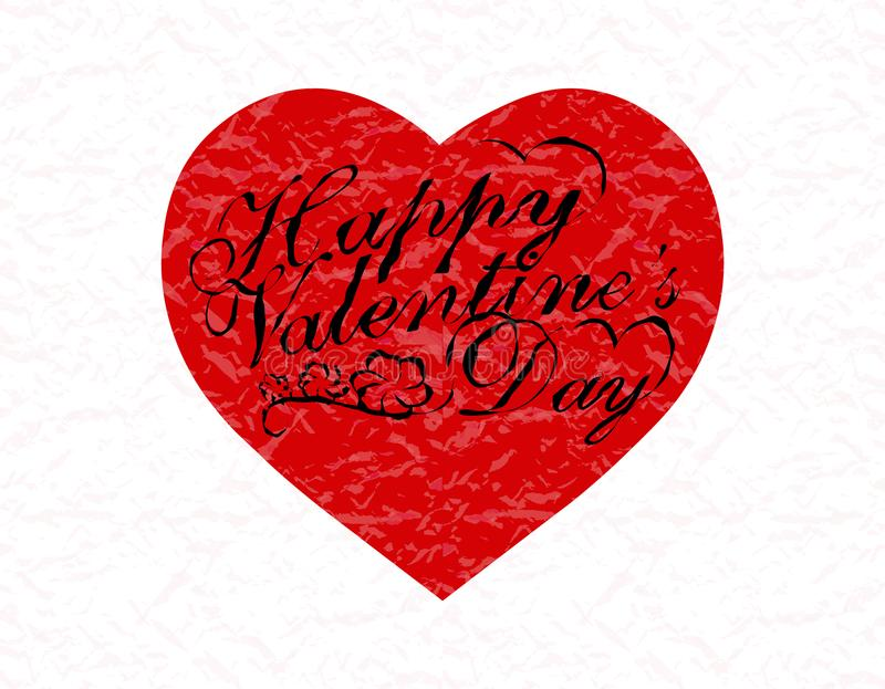 Valentine s Day. Red heart with a congratulatory inscription. illustration. Valentine s Day. Red heart with a congratulatory inscription. Vector illustration stock illustration