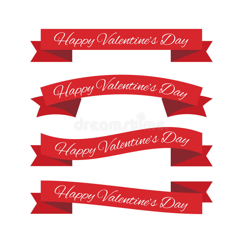Valentines day ribbons. Set of four Valentines day ribbons stock illustration
