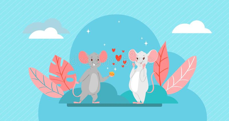 Valentine s Day romantic couple of lovely mice in love, cartoon animals characters boy mouse with hearts and cheese gift stock illustration
