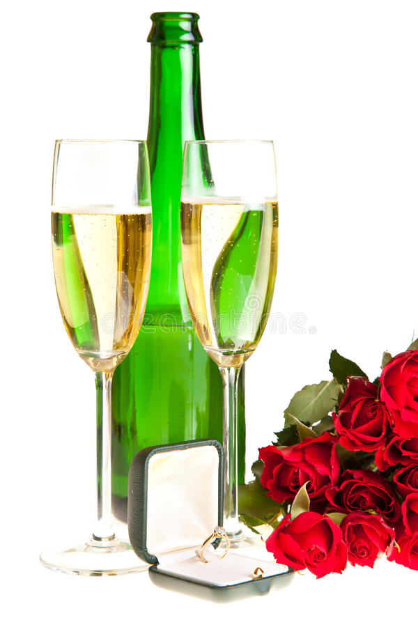 Valentine's day roses and champagne wine isolated stock image