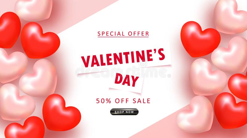 Valentine`s Day sale background. Top view on composition with hearts. Vector illustration for website , posters, email and. Newsletter designs, ads, coupons stock illustration