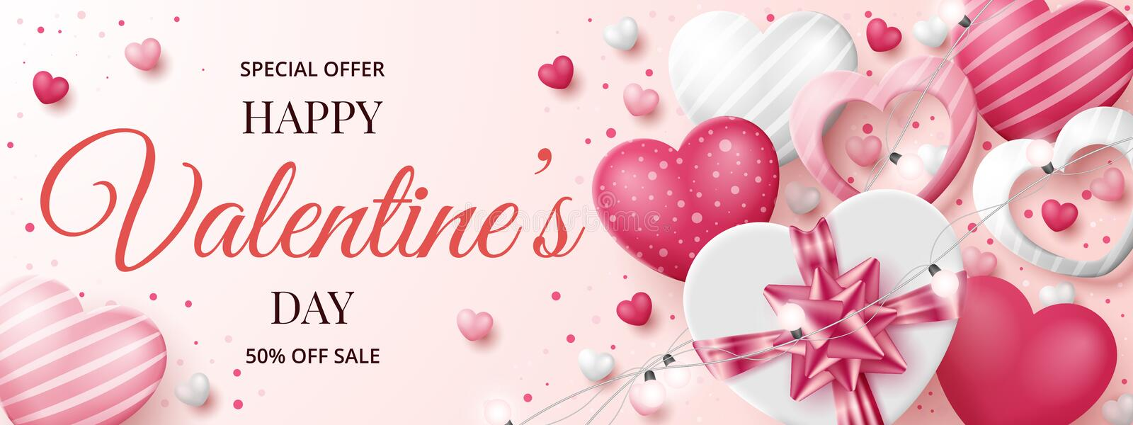 Valentine`s day sale banner template with 3D hearts, shining lights and gift box. Vector illustration vector illustration