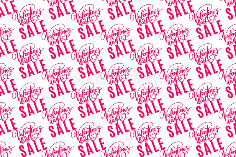 Valentine`s day sale. Holiday seamless pattern with lettering on white background. Template for a banner, poster, shopping,. Discount, invitation. Vector stock illustration