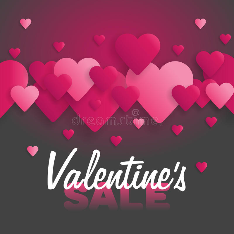 Valentine`s Day Sale. Lettering with hearts on the background. Vector illustration.  vector illustration