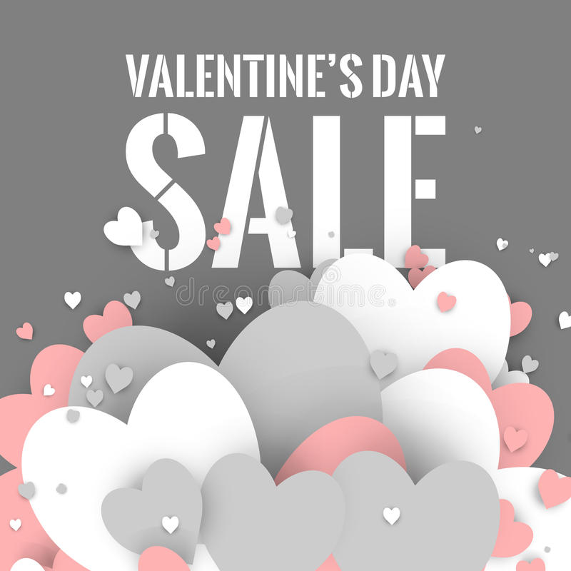 Valentine's Day sale. Letters with hearts valentine background and reflection. stock illustration
