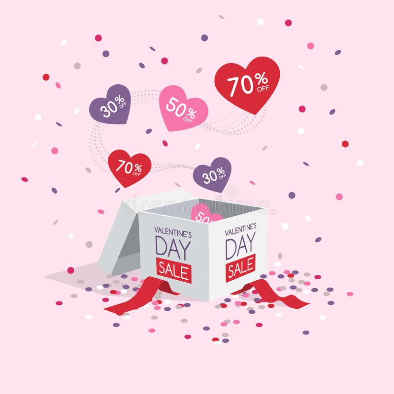 Valentine`s day sale symbol with box and flying hearts and confetti stock illustration