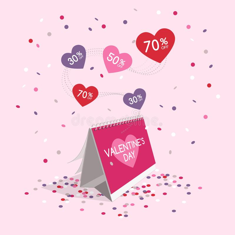 Valentine`s day sale symbol with calendar and flying confetti royalty free illustration