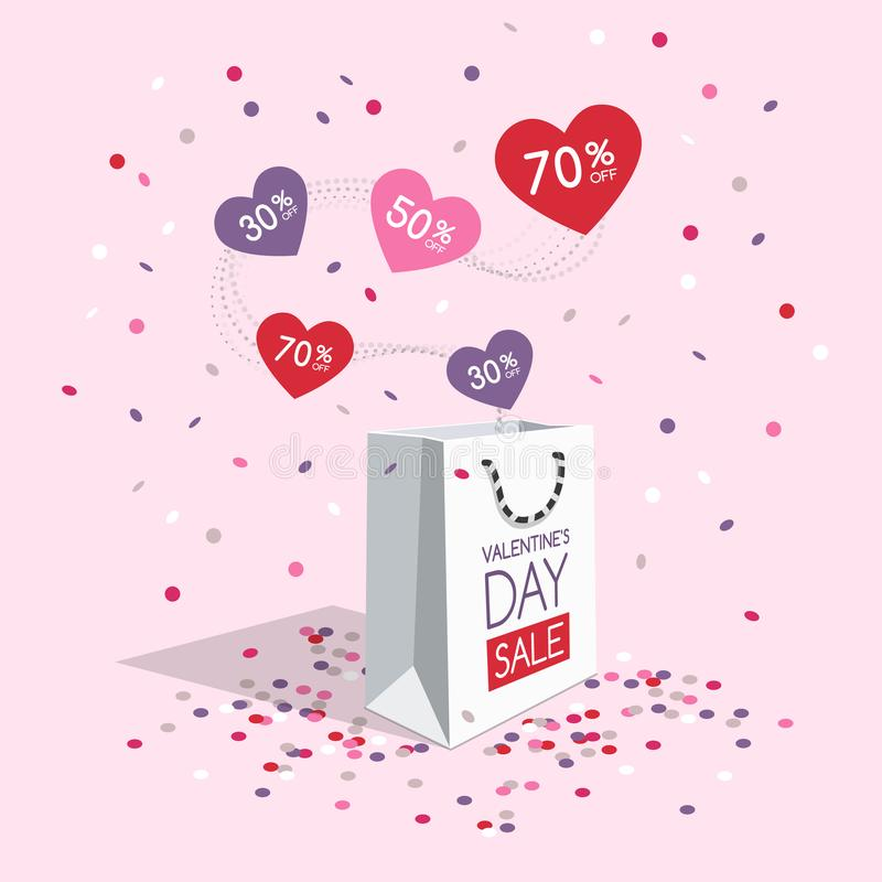 Valentine`s day sale symbol with shopping bag, flying hearts and confetti royalty free illustration