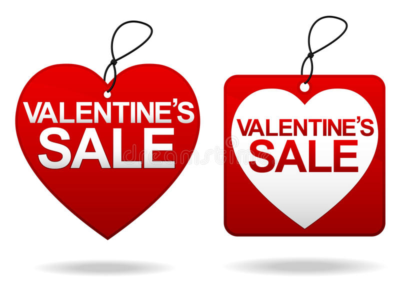 Valentine's Day Sale Tage. A pair of tags advertising a valentine's day sale