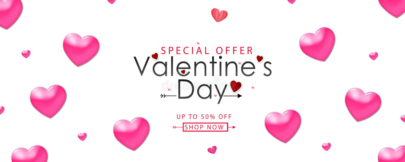 Valentine's day sale vector illustration. Banner design with beautiful pink color hearts royalty free illustration