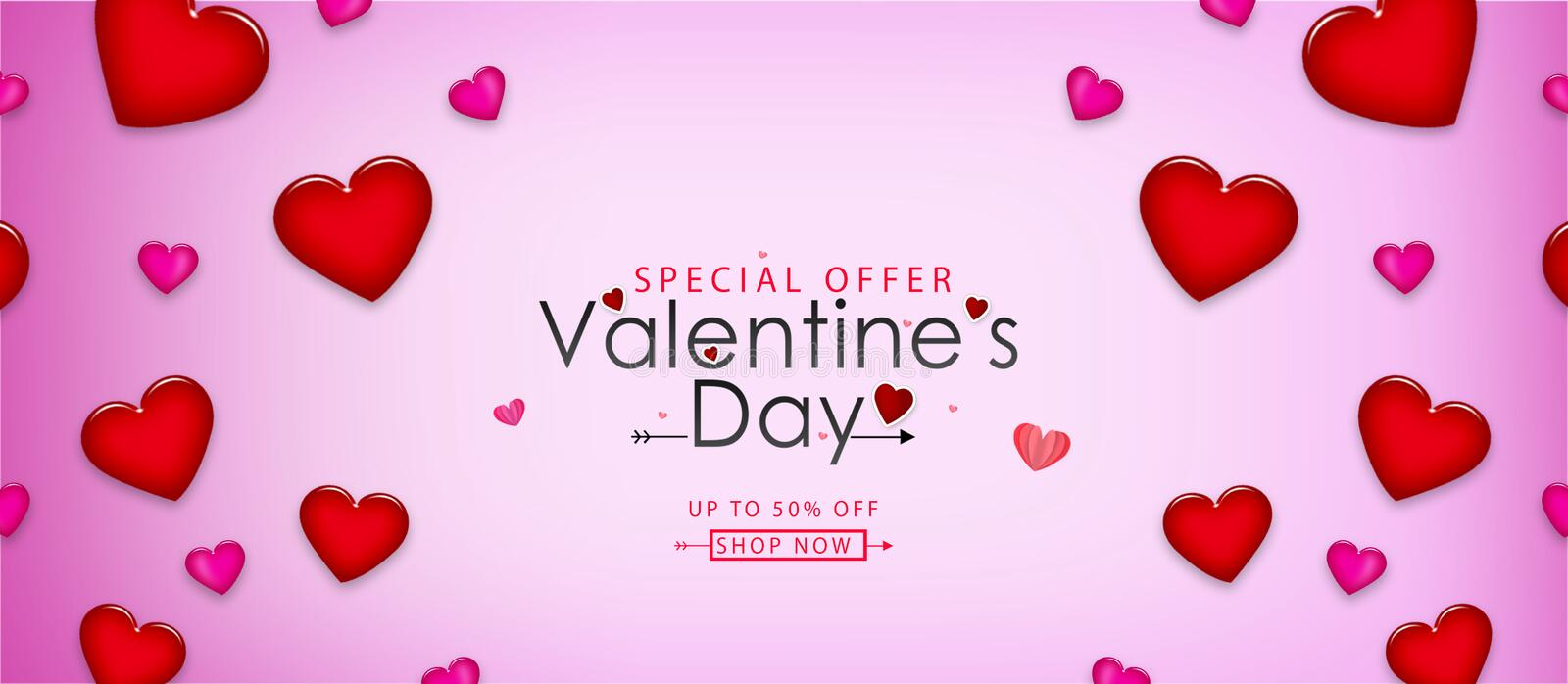 Valentine's day sale vector illustration. Banner design with beautiful red color hearts royalty free illustration