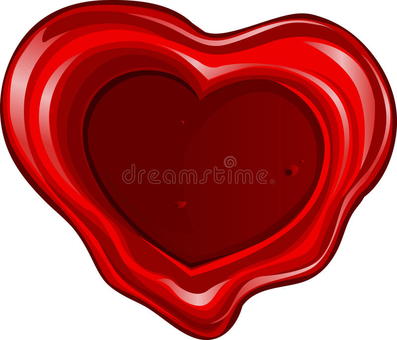 Valentine`s day sealing wax in heart shape stock photography