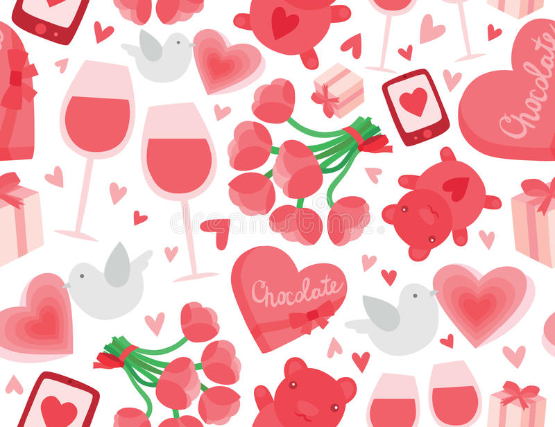 Valentine's Day Seamless Background stock images