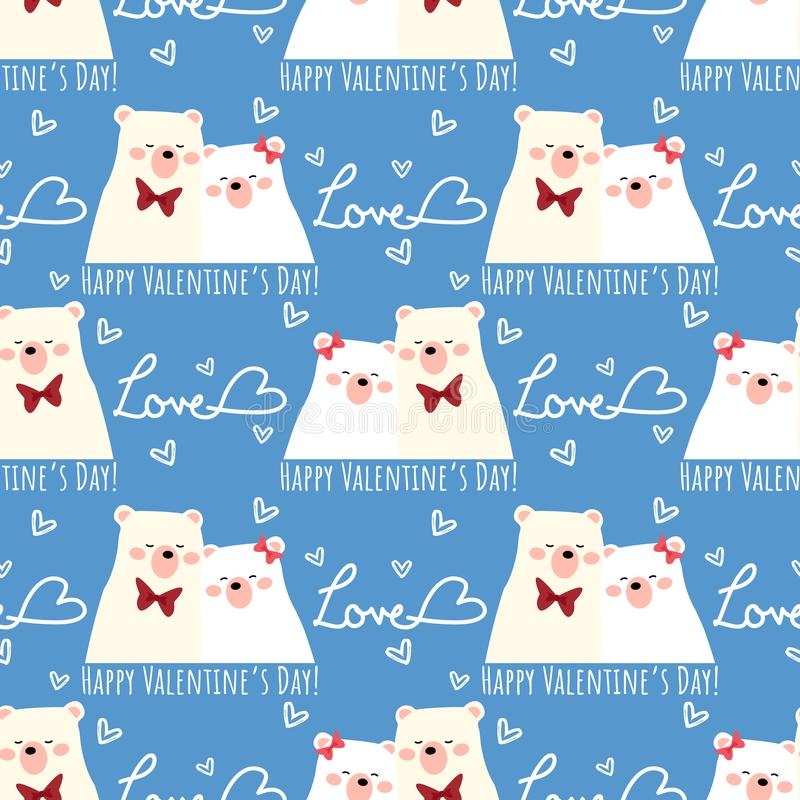 Valentine`s Day seamless pattern of cute polar bear couple with tiny hearts, Love and Happy Valentine`s Day text. vector illustration