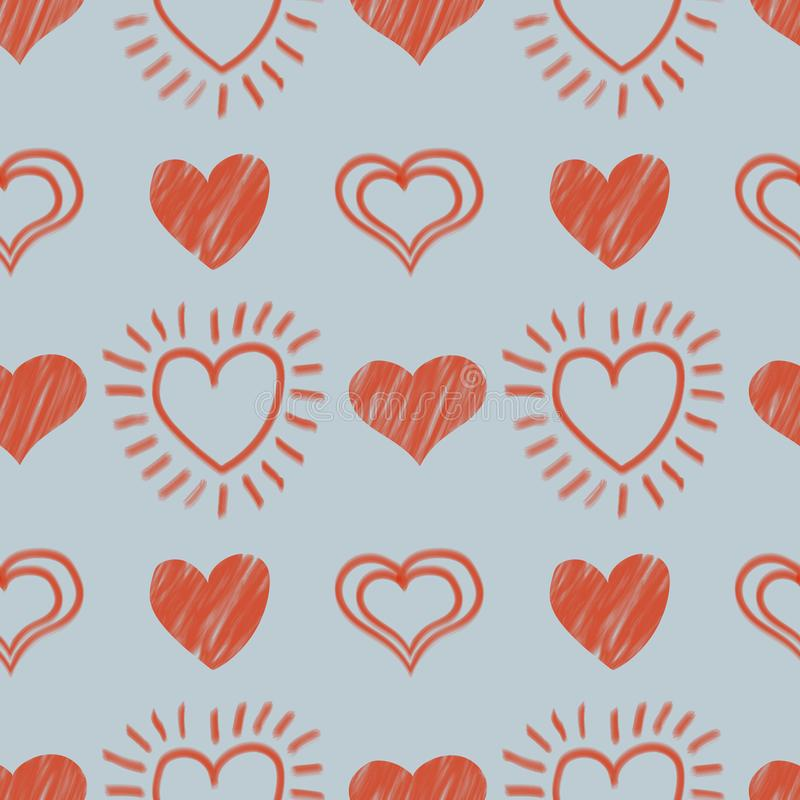 Valentine`s day seamless pattern with hand - drawn hearts. Vector illustration stock illustration