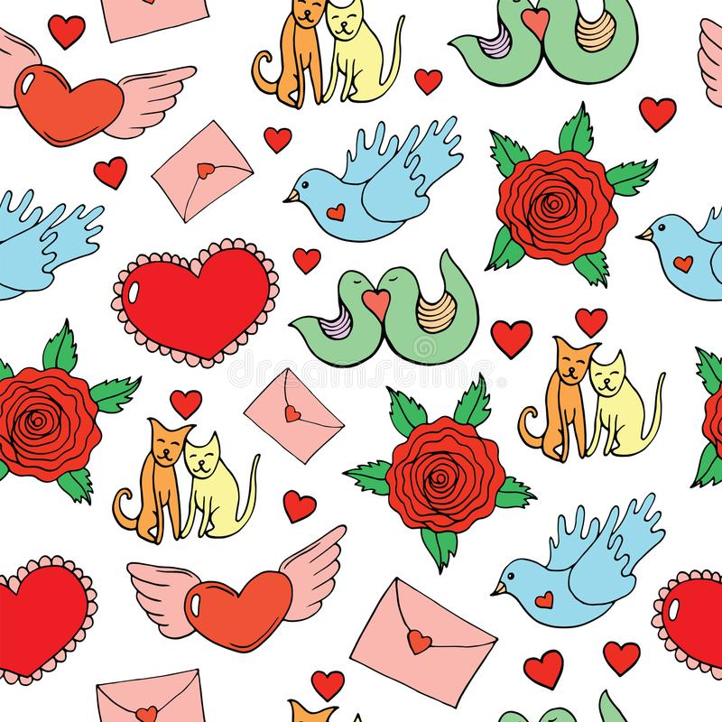 Valentine`s Day seamless pattern with hearts, birds, cats, roses. And letters. Doodle cartoon background. Vector illustration vector illustration