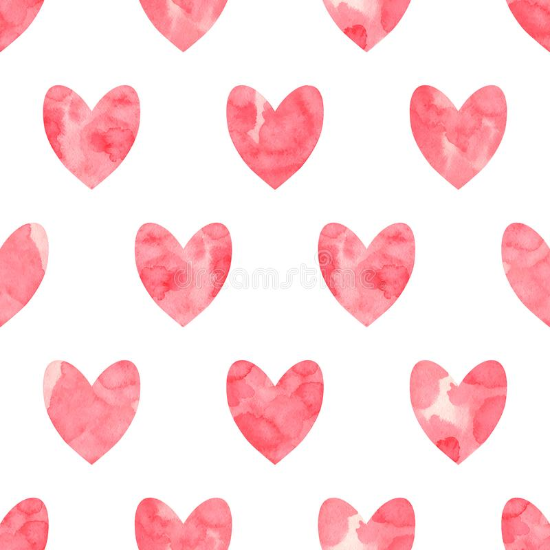 Valentine`s Day seamless pattern. Red watercolor hearts on a white background. Handmade, grunge texture. Vector illustration stock illustration