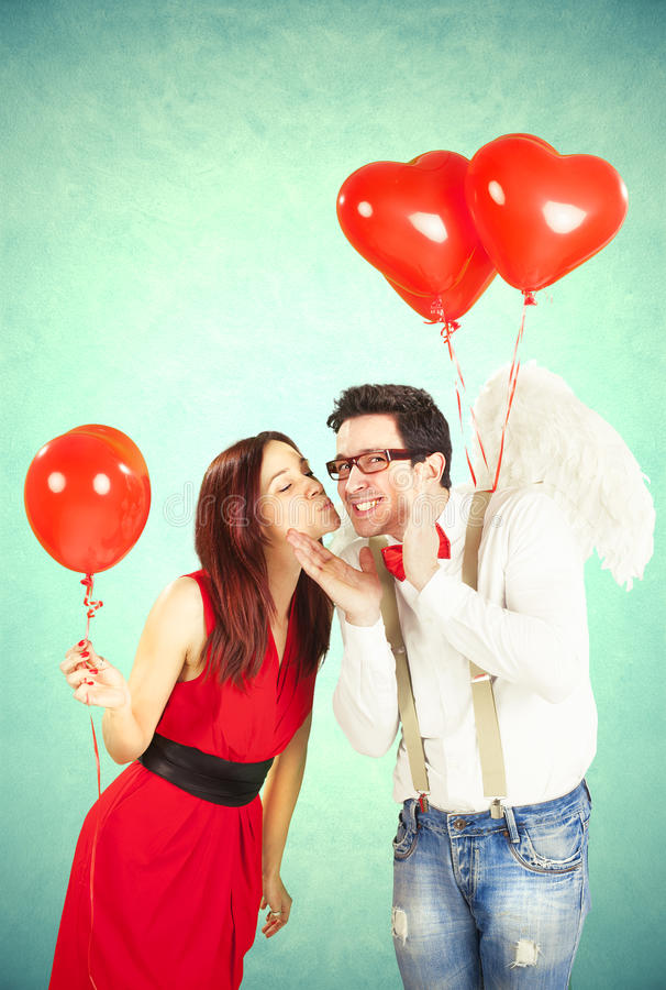 Valentine's Day, series of different approaching acts stock photo