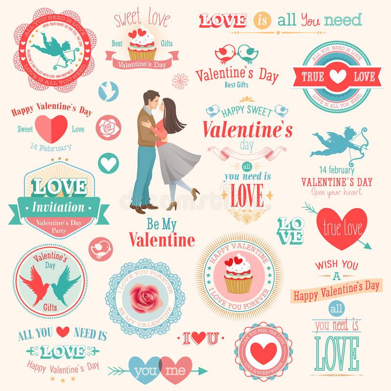 Valentine`s Day set. Labels, emblems and other elements. Vector illustration stock illustration