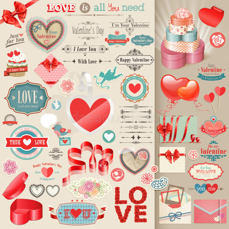 Valentine`s Day set. Valentine`s Day set - vintage design elements vector illustration