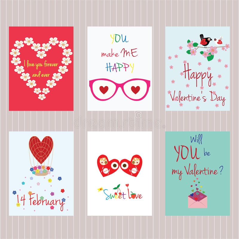 Valentine`s day. Set of cards stock photos