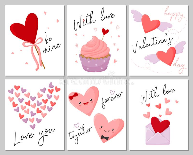 Valentine`s Day set greeting cards. Vector illustration. royalty free stock photos
