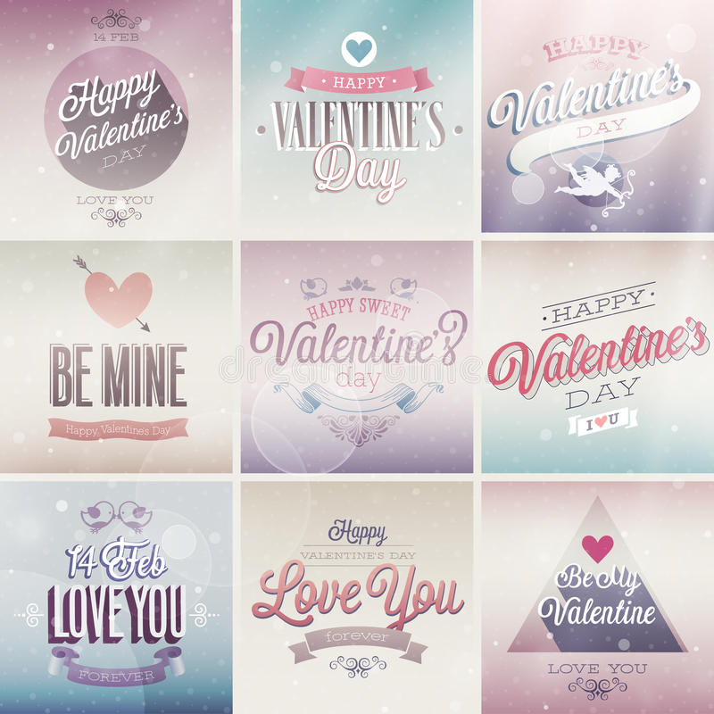 Valentine`s day set vector illustration