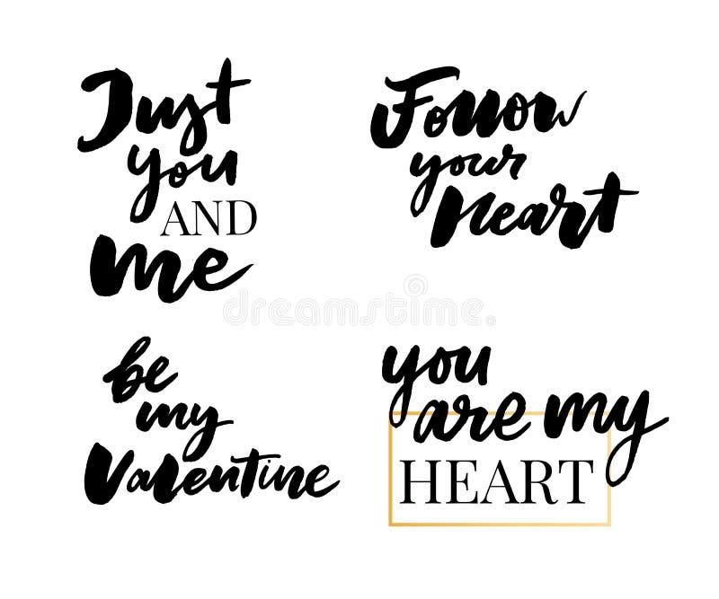 Valentine's Day set of symbols.Calligraphy. Vector illustration. Gray on white background royalty free illustration