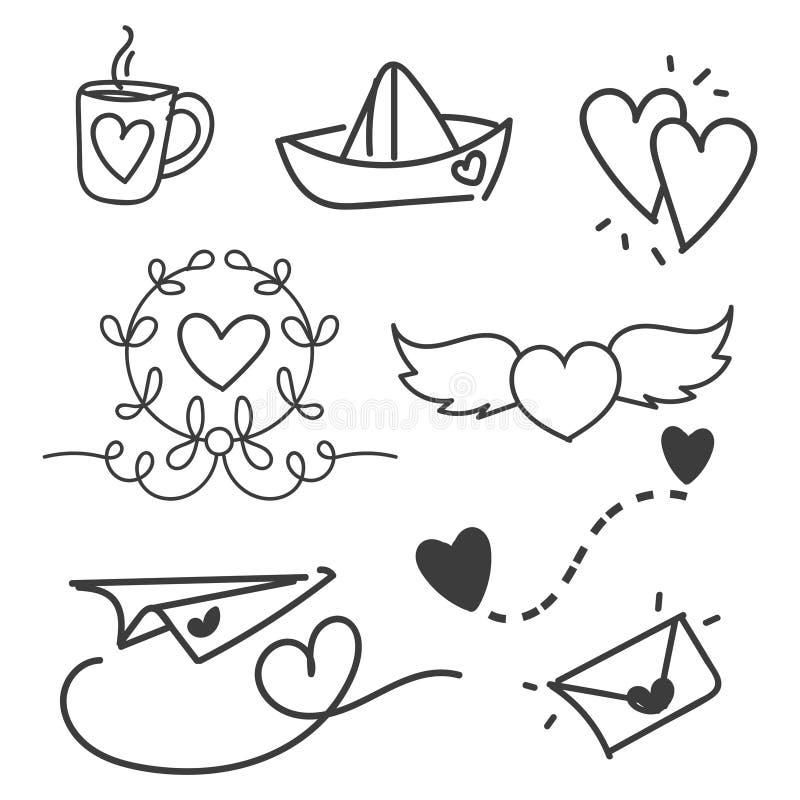 Valentine`s Day set of symbols.Calligraphy. Vector.  stock illustration
