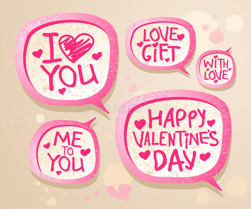 Valentine`s day speech bubbles. vector illustration