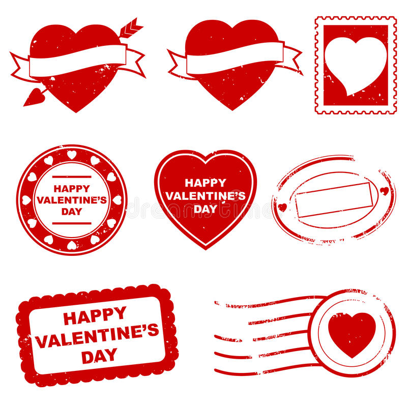 Valentine's Day Stamps. A set of eight valentine's stamps royalty free illustration