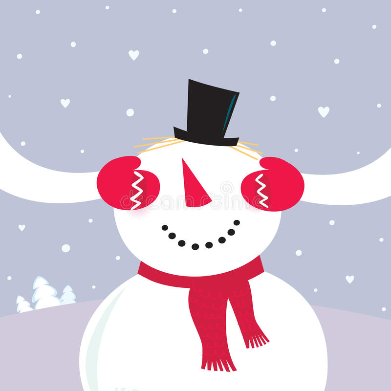 Valentine´s Day Surprise! Snowy couple in love stock illustration