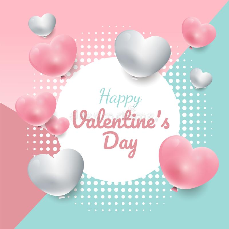 Valentine`s day sweet color background with 3d hearts circle frame. Banner vector, sales promotion template, greeting card or invitation royalty free illustration
