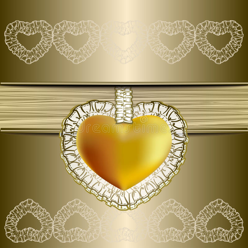 Valentine`s Day Symbol with gold background stock photography