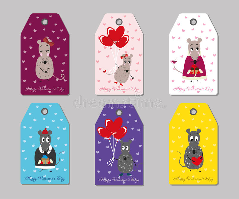 Valentine's day tags mice. Many coloured vector tags mice Valentine's day vector illustration