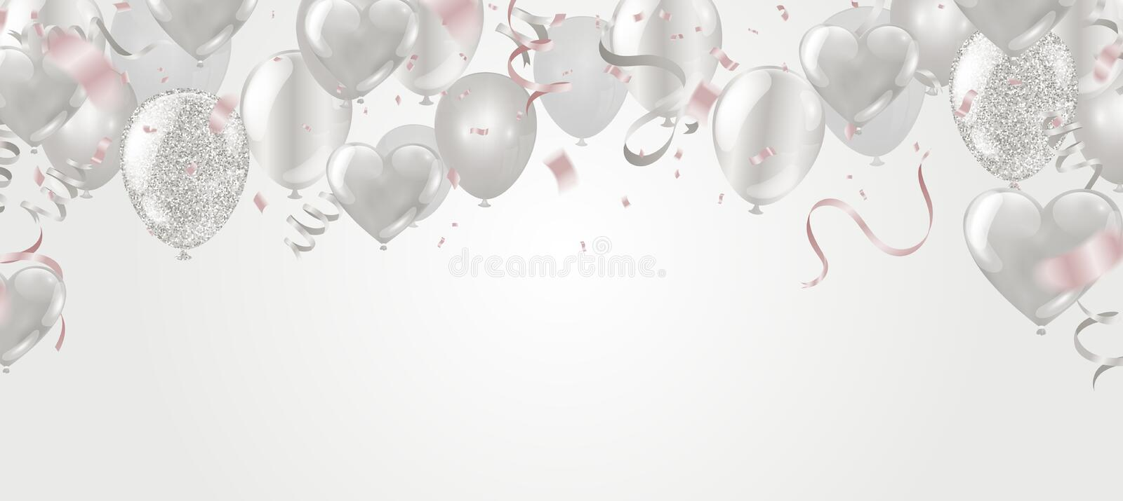 Valentine`s day ,Template Realistic Air Balloons in the Form of Heart. Vector Illustration with Confetti and Serpentine vector illustration